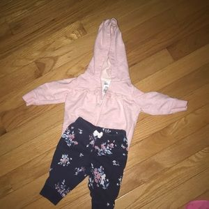 Carters girls 3 mo hoodie and joggers